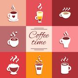 Collection of cup icons with hot coffee drinks Royalty Free Stock Photography