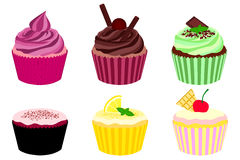 Collection of Cupcakes. 6 assorted cupcakes. Strawberry or raspberry cupcake - flexible because no fruit was placed. Chocolate ball and stick cupcake, chocolate Royalty Free Stock Photography