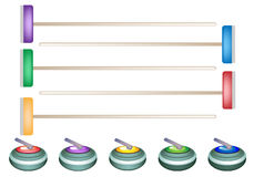 A Collection of Curling Stones and Curling Blooms. Winter Sport : Hand Drawing of Curling Rocks and Brooms with Five Assorted Colours Isolated on White Stock Photos