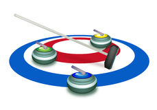 A Collection of Curling Stones on Ice Sheet Stock Photography