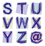 Collection of cut out letters Royalty Free Stock Photos