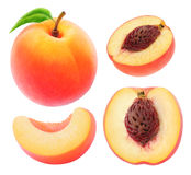 Collection of cut peaches. Collection of whole and cut peaches isolated on white with clipping path Royalty Free Stock Images