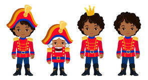 Collection cute african american Christmas Nutcrackers. Royalty Free Stock Photo