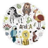 Vector African cartoon animals vector illustration