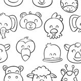 Collection cute animal doodle style Royalty Free Stock Photography