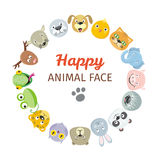 Collection of Cute Animal Faces. Animal Head Icons Royalty Free Stock Photography