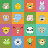 Collection of Cute Animal Faces. Head Icon Set. Collection of cute animal faces. Animal head icon set. Cartoon masks for masquerade, holiday, festival Stock Images