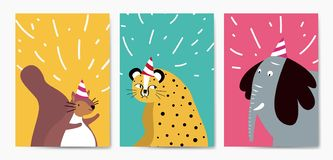Collection of cute animals in cartoon style vector royalty free illustration