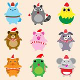 Collection of cute animals design with Christmas theme Royalty Free Stock Photo