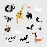 Collection of cute animals illustration Stock Image