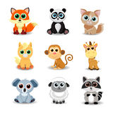 Collection of cute animals including fox, panda, cat, pony, monkey, giraffe, koala, sheep and raccoon. Stock Images