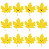 Collection of cute autumn leaves in kawaii style stock illustration