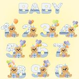 Collection of cute baby birthday digits Stock Images