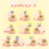 Collection of cute baby birthday digits royalty free illustration