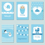 Collection of cute Baby Boy Card Royalty Free Stock Images