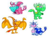 Collection of cute baby dino's Royalty Free Stock Images