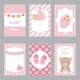 Collection of cute baby girl card Stock Images