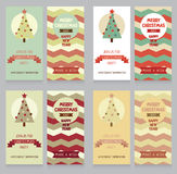 Collection of cute banners for christmas party in retro palette Royalty Free Stock Image
