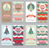 Collection of cute banners for christmas party in retro palette Stock Photos