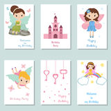 Collection of cute Birthday cards. Set of beautiful birthday invitation cards decorated with beautiful fairies stock illustration