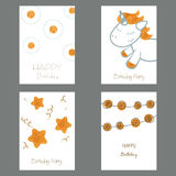 Collection of cute Birthday cards. Set of beautiful birthday invitation cards decorated with beautiful unicorn and stars royalty free illustration