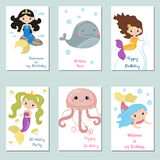 Collection of cute Birthday cards. Set of beautiful birthday invitation cards decorated with cute girl mermaids and sea animals royalty free illustration