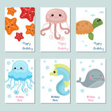 Collection of cute Birthday cards. Set of beautiful birthday invitation cards decorated with sea animals Royalty Free Stock Images
