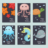 Collection of cute Birthday cards. Set of beautiful birthday invitation cards decorated with sea animals Stock Photography