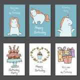 Collection of cute Birthday cards. Set of beautiful birthday invitation cards decorated with unicorns and birthday icons. Hand drawn set with birthday cake Royalty Free Stock Photo