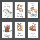 Collection of cute Birthday cards. Set of beautiful birthday invitation cards decorated with unicorns and birthday icons. Hand drawn set with birthday cake Stock Photo