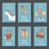 Collection of cute Birthday cards. Set of beautiful birthday invitation cards decorated with unicorns and birthday icons. Hand drawn set with birthday cake Royalty Free Stock Photography