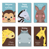 Collection of cute Birthday cards. Set of beautiful birthday invitation cards decorated with wild animals Stock Images