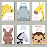 Collection of cute Birthday cards. Set of beautiful birthday invitation cards decorated with wild animals on white background Stock Photos