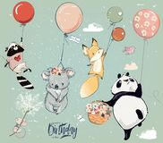 Collection with cute birthday fly animals with balloons. Collection of cute vector birthday fly animals with balloons royalty free illustration