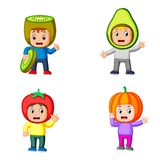 The collection of the cute boys using the cute fruits costume with different colour royalty free illustration