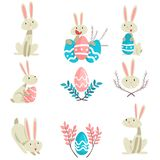 Collection of Cute Bunnies and Colorful Eggs, Happy Easter, Adorable Funny Animals Vector Illustration. On White Background vector illustration