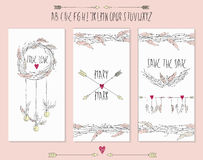Collection of 3 cute card templates. Royalty Free Stock Images