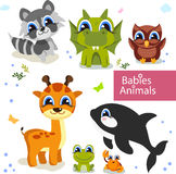 Collection of cute cartoon animals Stock Photography