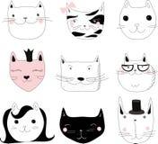 Collection of Cute Cartoon Doodle Cats,vector Stock Photos