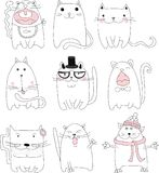 Collection of Cute Cartoon Doodle Cats,vector Royalty Free Stock Images