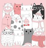 Collection of Cute Cartoon Doodle Cats,vector Stock Photography