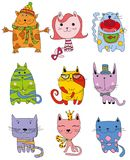 Collection of Cute Cartoon Doodle Cats,vector Stock Photo