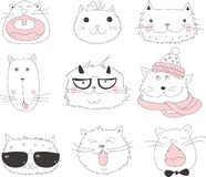 Collection of Cute Cartoon Doodle Cats, vector Royalty Free Stock Images