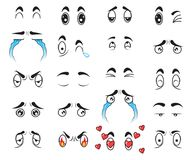 Collection cute cartoon eyes set vector Stock Photos