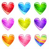 Collection Cute cartoon glossy hearts with jelly in different colors. Vector assets Magic love item for web or game design. Decorative GUI elements, Colorful Royalty Free Illustration