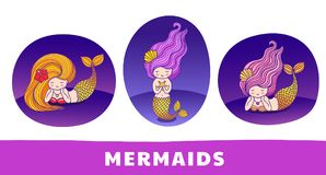 Collection of cute cartoon mermaids with golden tails, under the sea. stock illustration