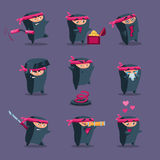 Collection of Cute Cartoon Ninja Royalty Free Stock Images