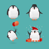 Collection of cute cartoon penguins characters. Stock Images