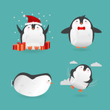 Collection of cute cartoon penguins characters. Royalty Free Stock Photography