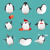 Collection of cute cartoon penguins characters. Royalty Free Stock Images
